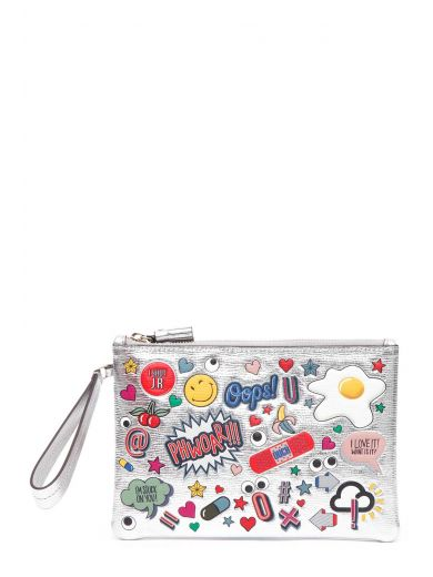 ANYA HINDMARCH Sticker-Print Metallic Leather Pouch, Silver at Italist.com