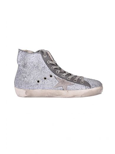 GOLDEN GOOSE Francy Distressed Glittered Suede High-Top Sneakers at Italist.com
