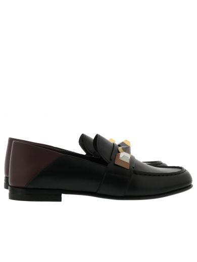 FENDI Rainbow Stud Leather Loafer, Nero/Bordeaux/Multi