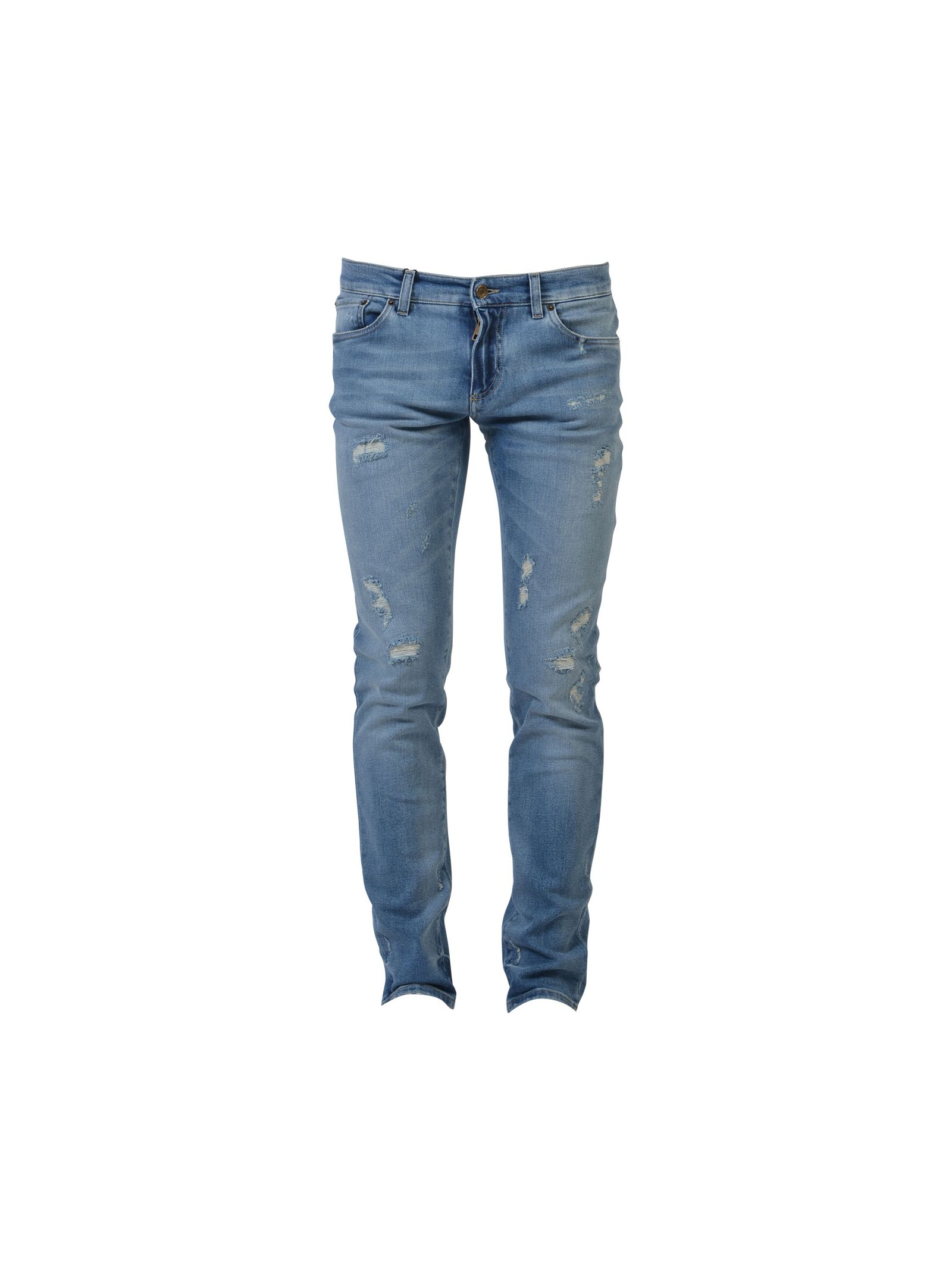 Dolce & Gabbana Light Blue Stretch Cotton Distressed Jeans