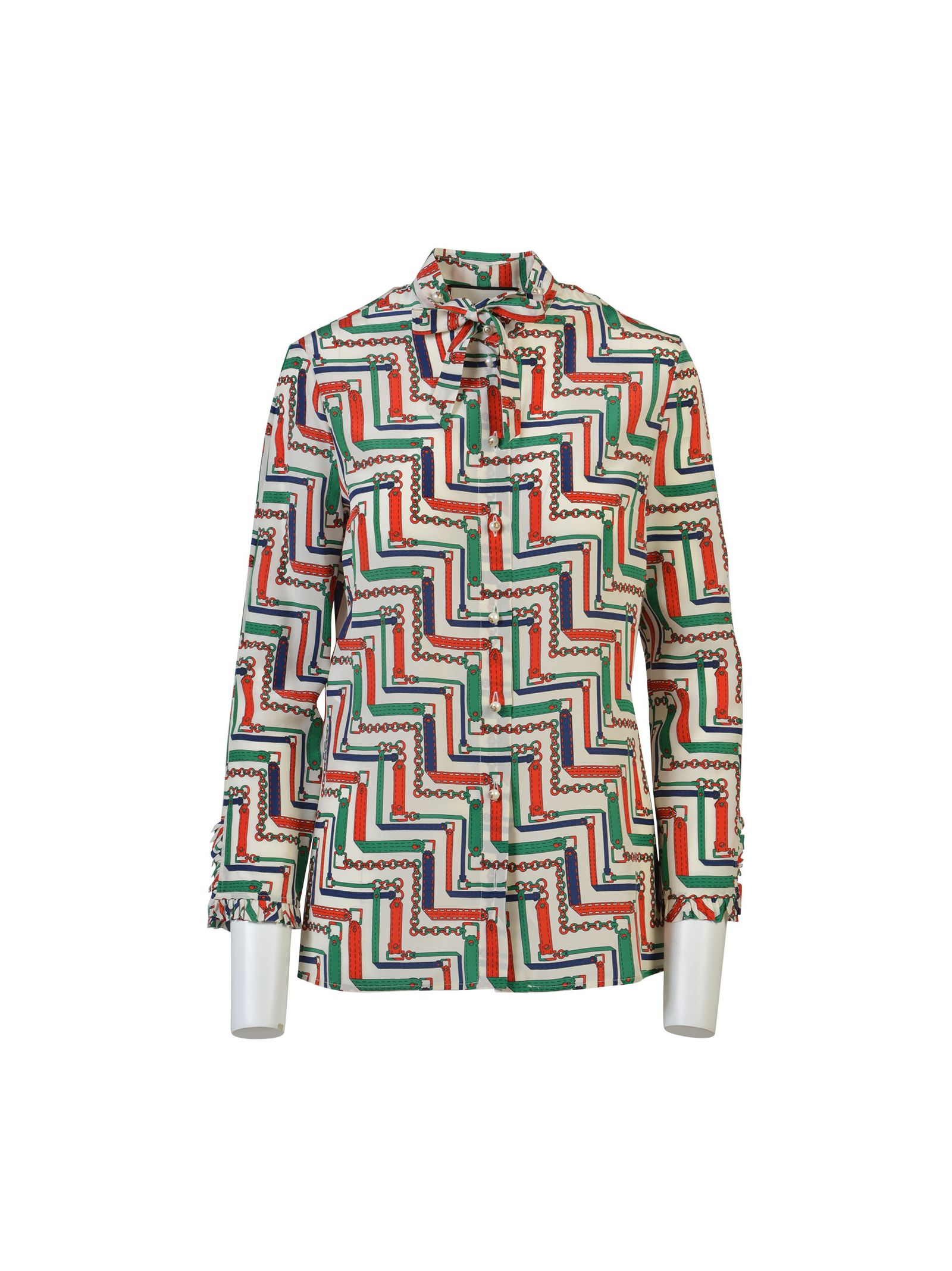 gucci female gucci chain print silk twill shirt