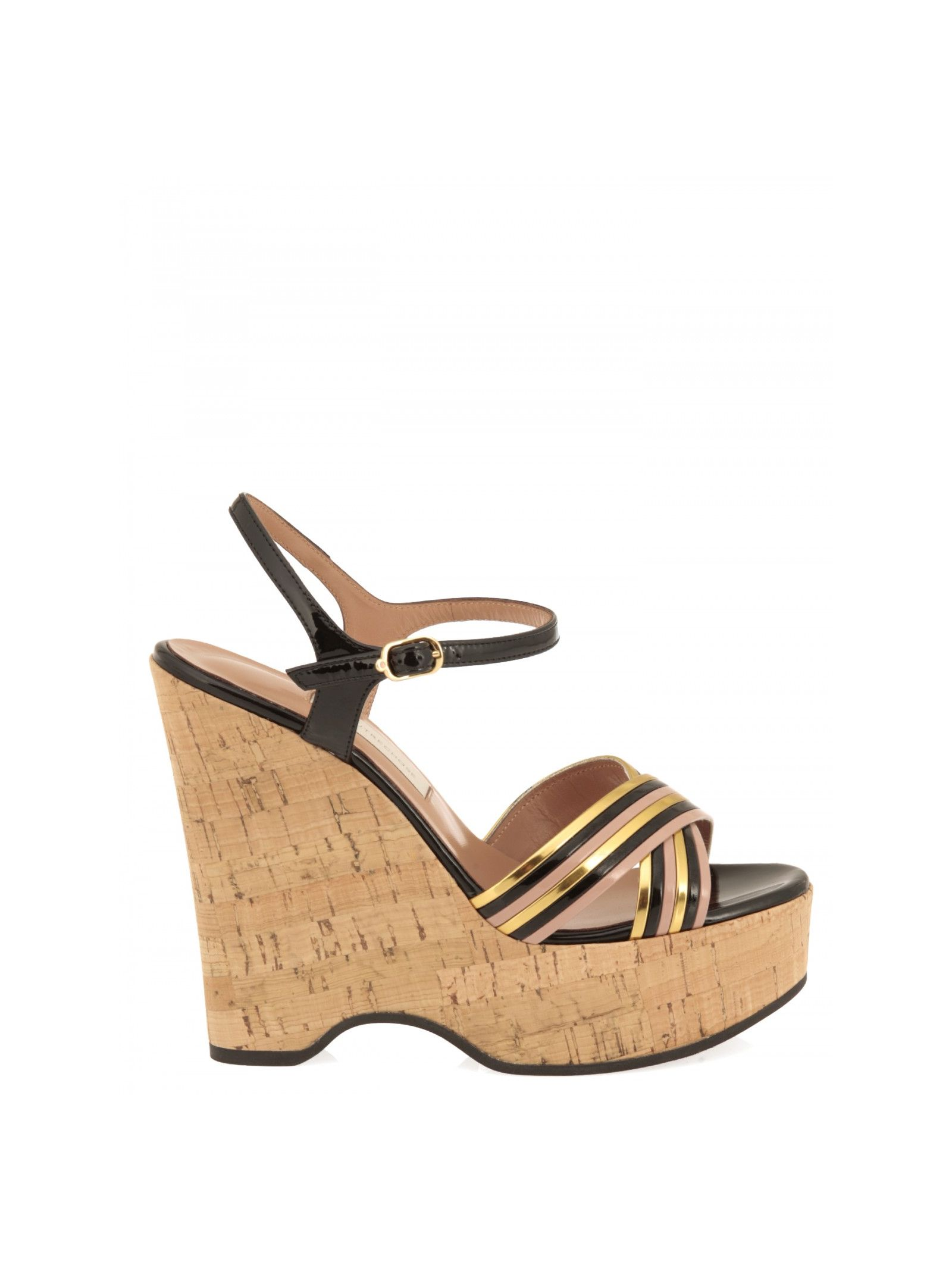 lautre chose female l autre chose cork wedge sandals