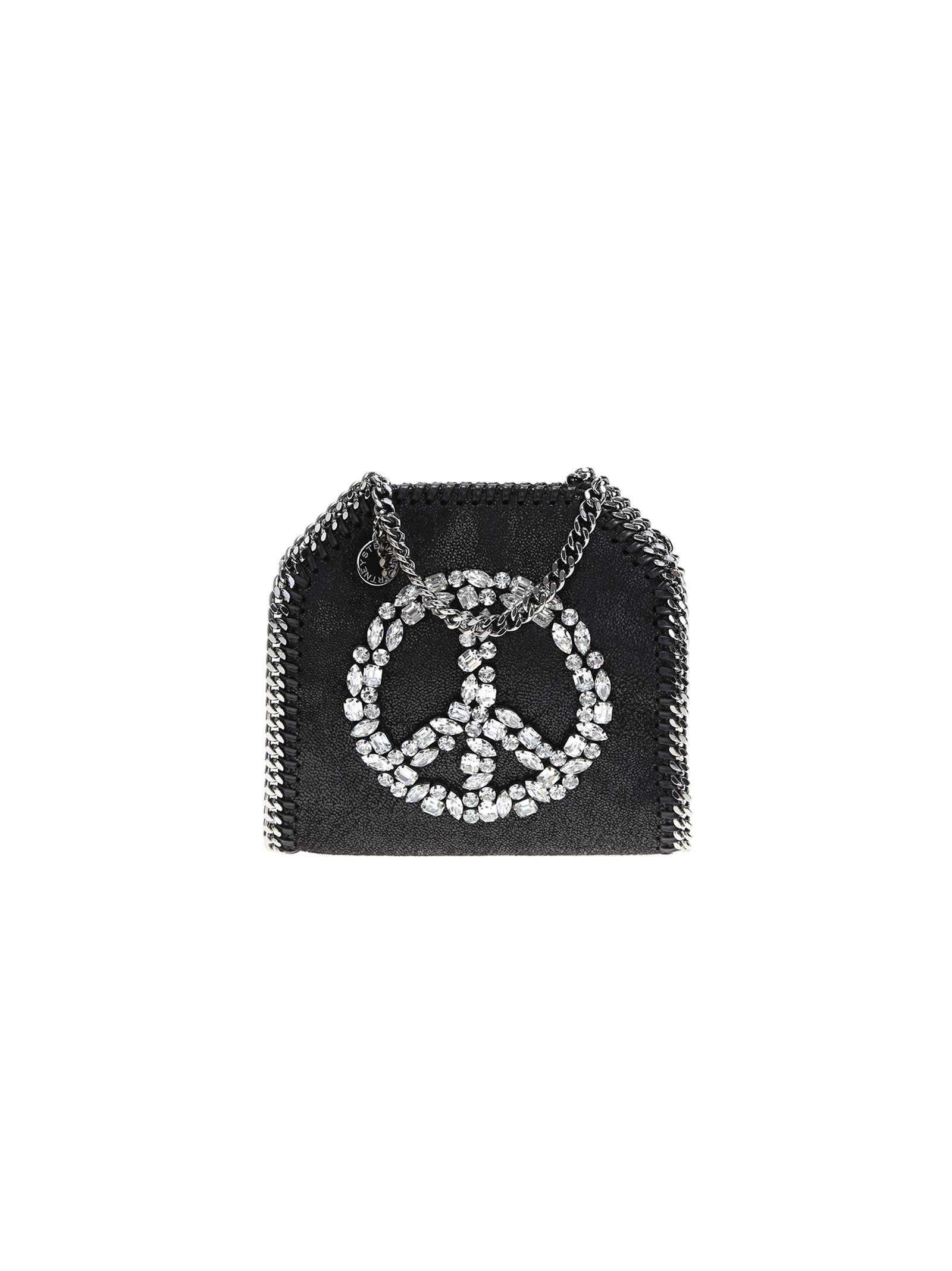 stella mccartney female black falabella tiny bag with crystals peace sign