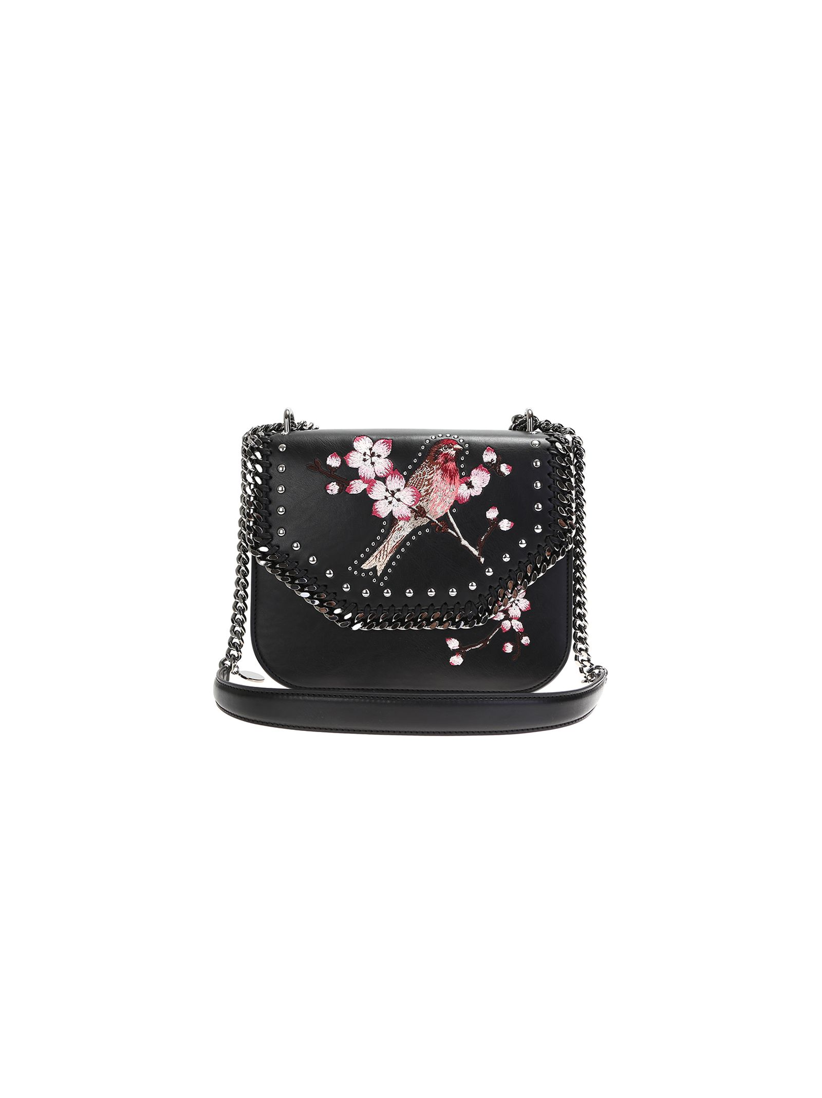 stella mccartney female embroidered birt black ecoleather falabella bag