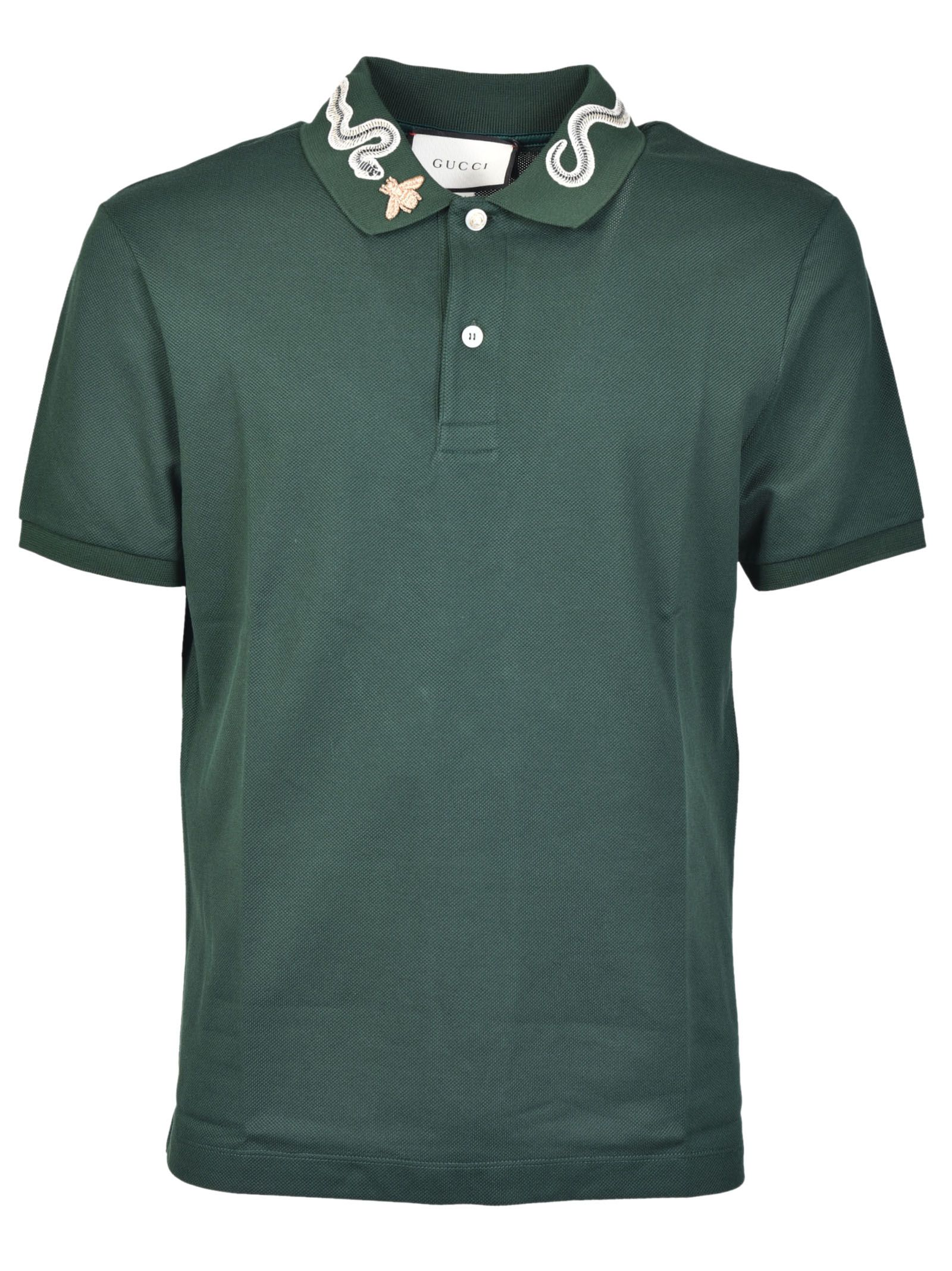 gucci male gucci snake embroidery polo shirt