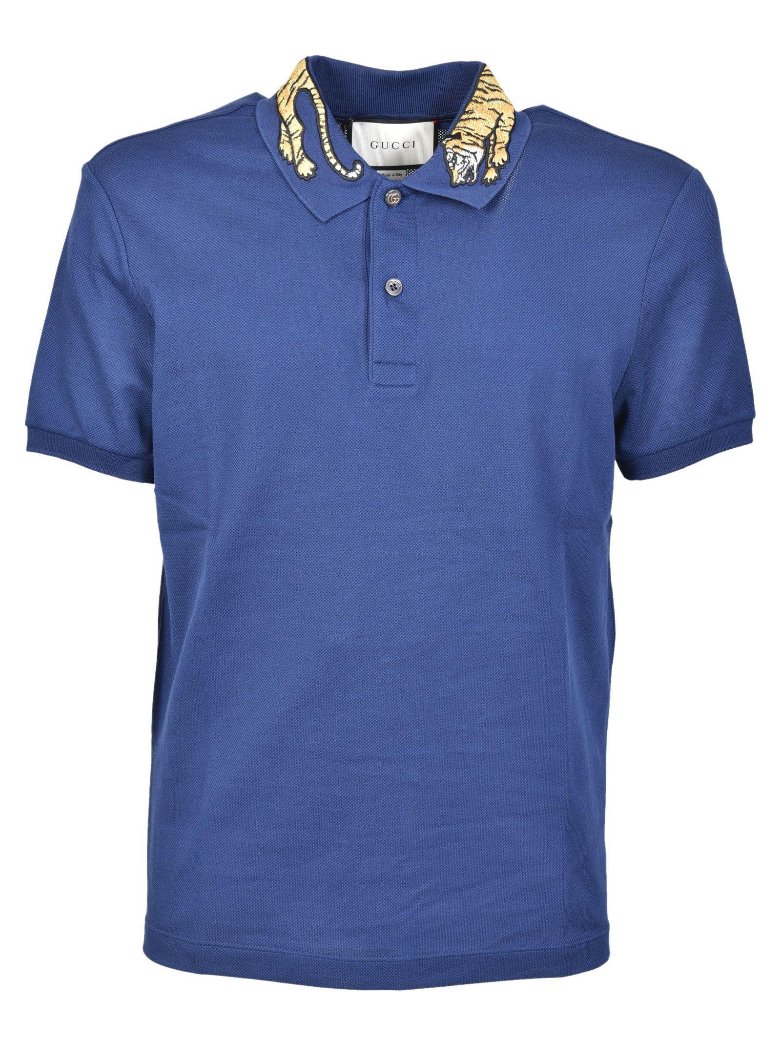 gucci male gucci tiger embroidered polo shirt