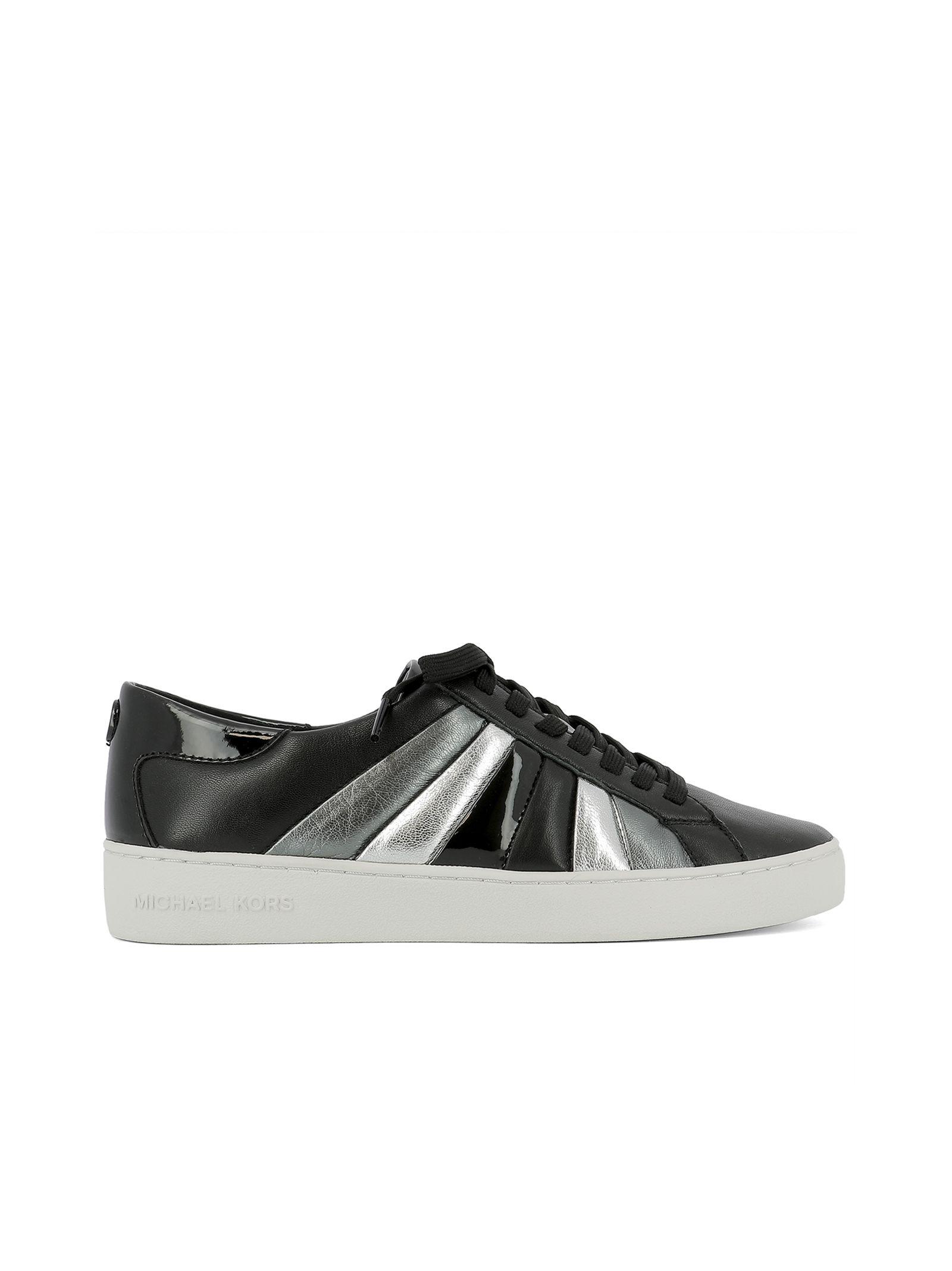 michael kors female black leather sneakers