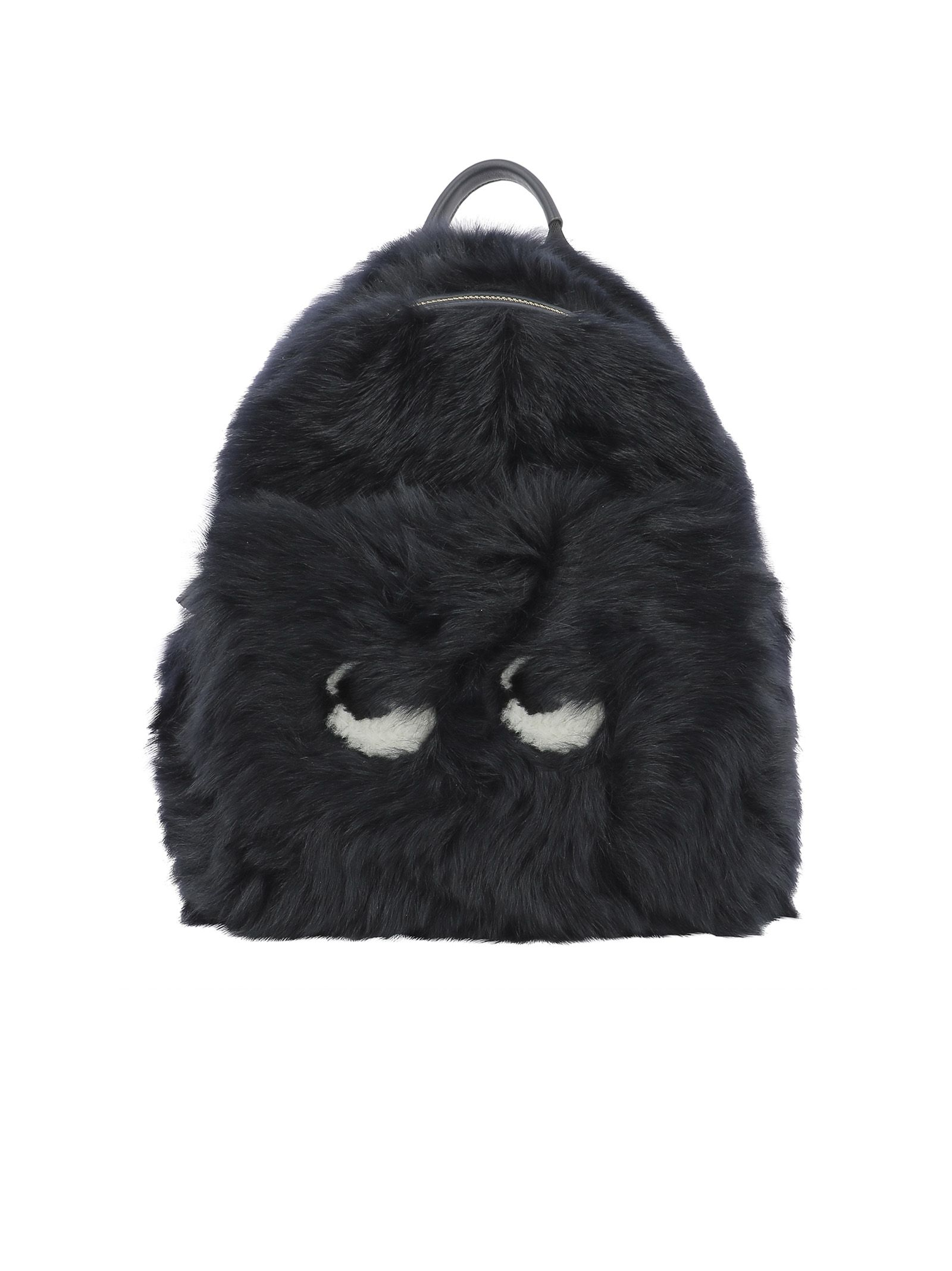 anya hindmarch female dark blue fur backpack