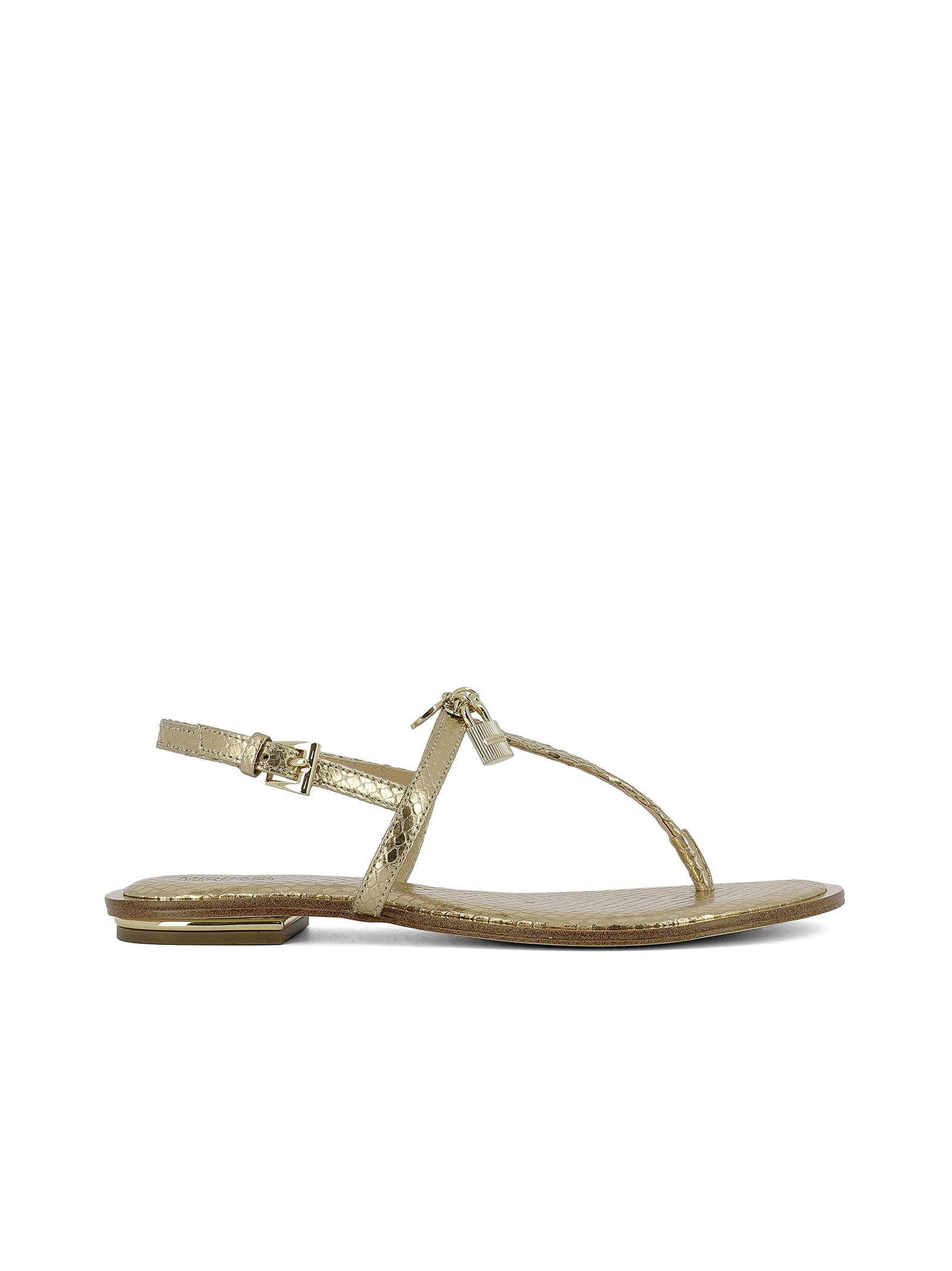 michael kors female gold leather sandals