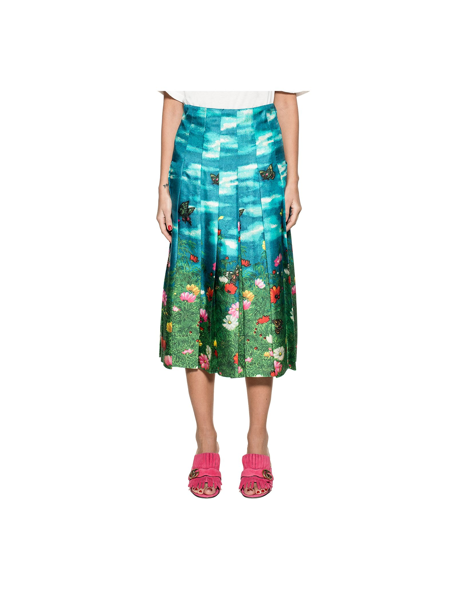 gucci female light bluegreen gucci snake silk skirt