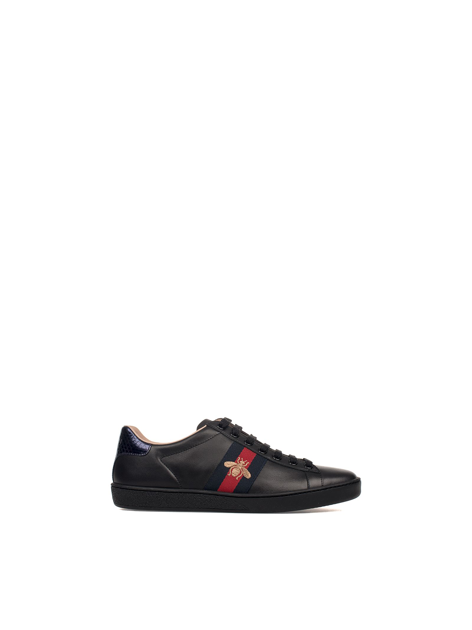 gucci female blackredblue embroidery ace leather sneakers
