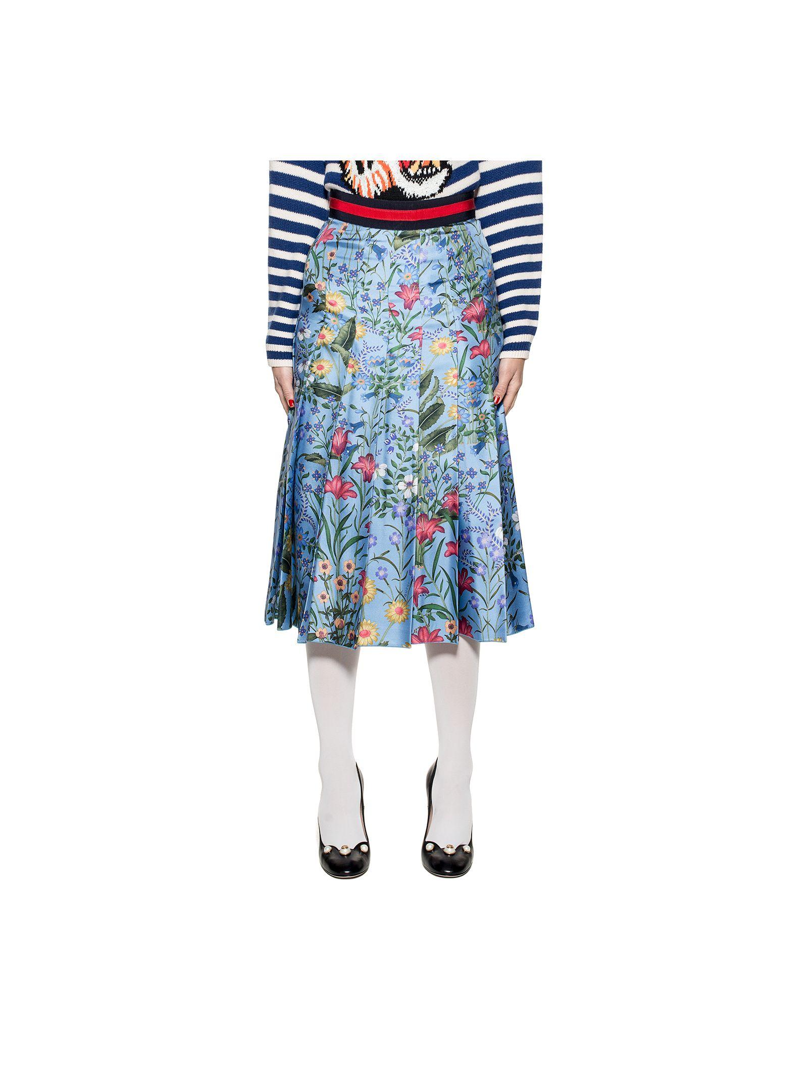 gucci female celestial new flora silk skirt