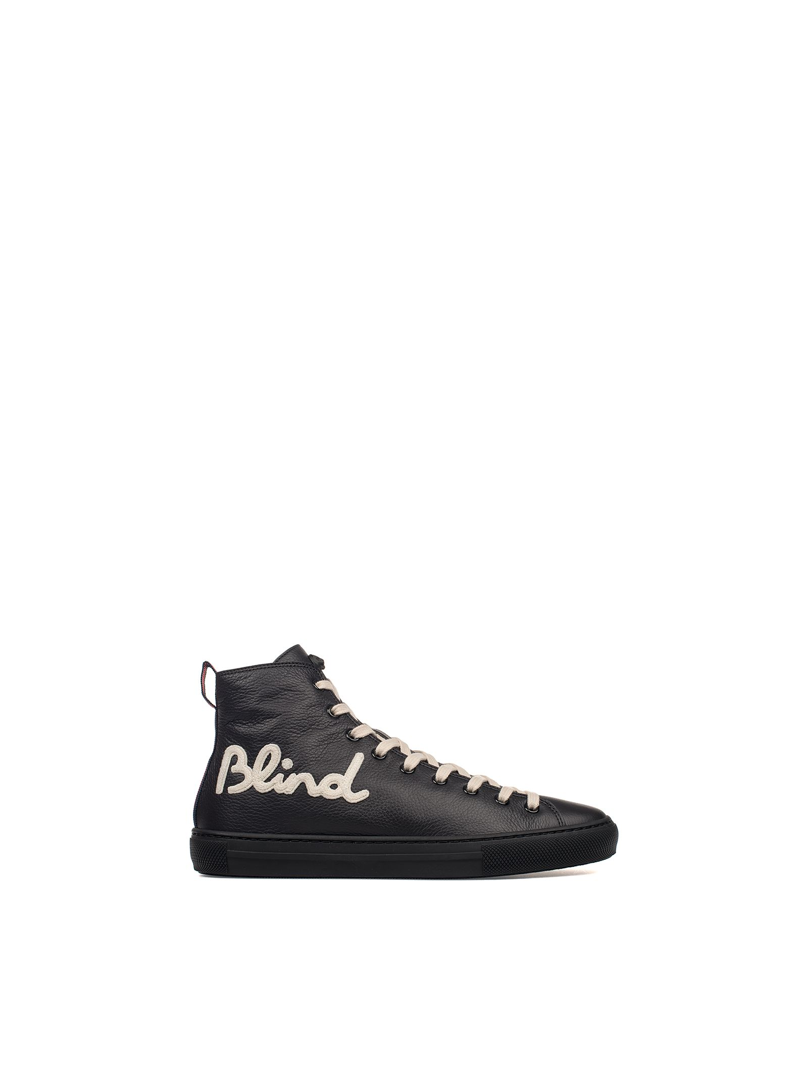 gucci male black blind for love leather hightop sneakers
