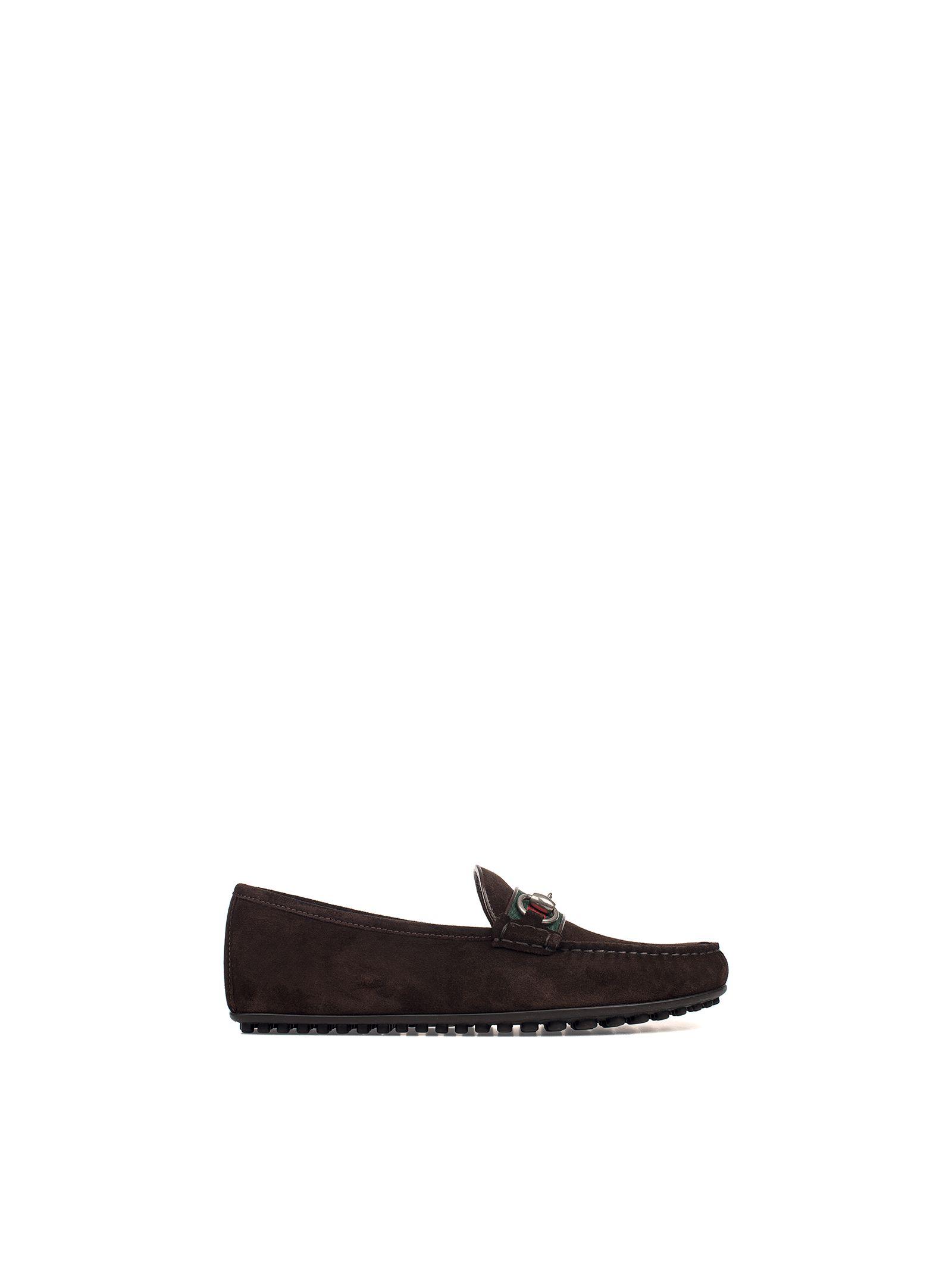 gucci male dark brown suede loafer