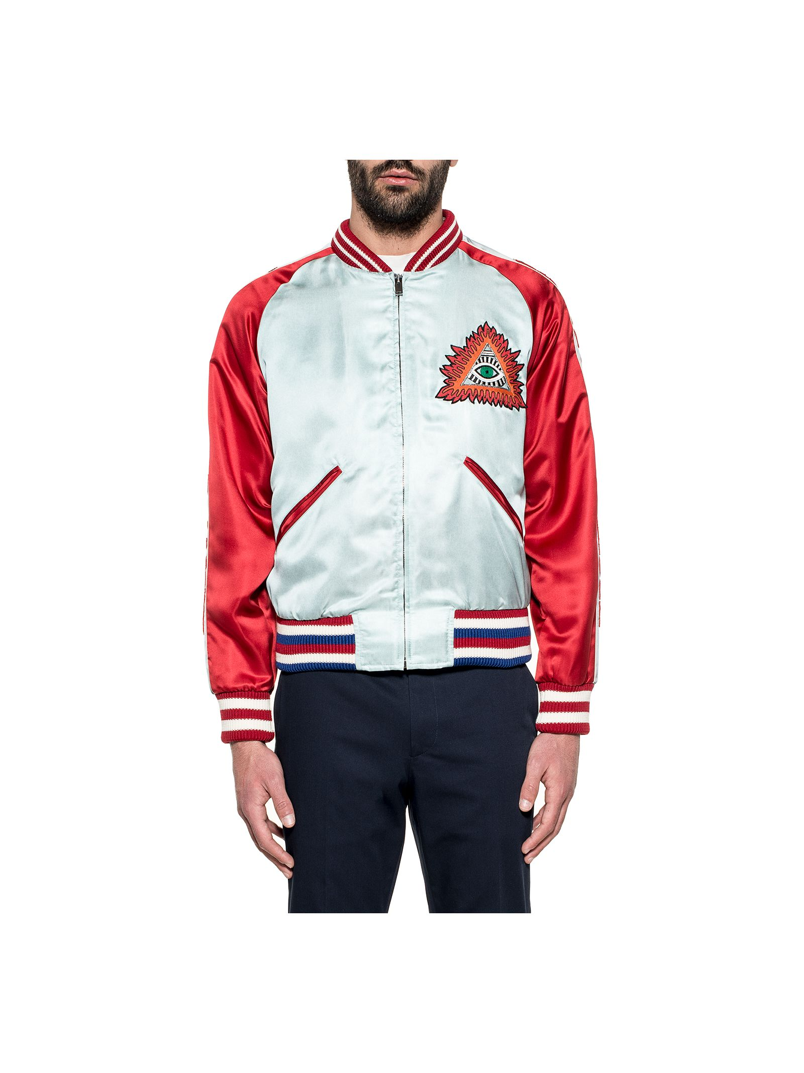 gucci male light bluered embroidery silk bomber