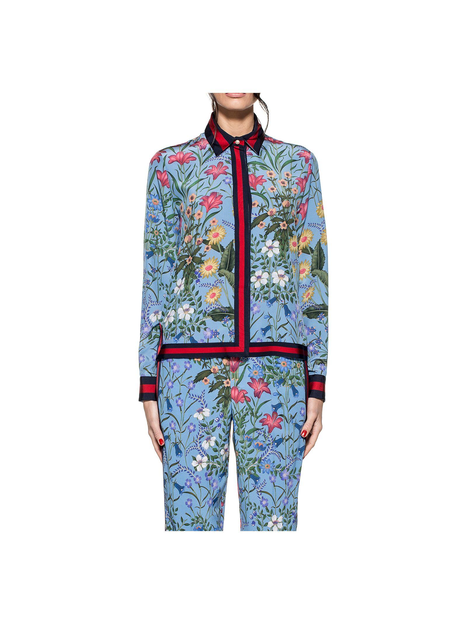 gucci female celestial new flora silk shirt
