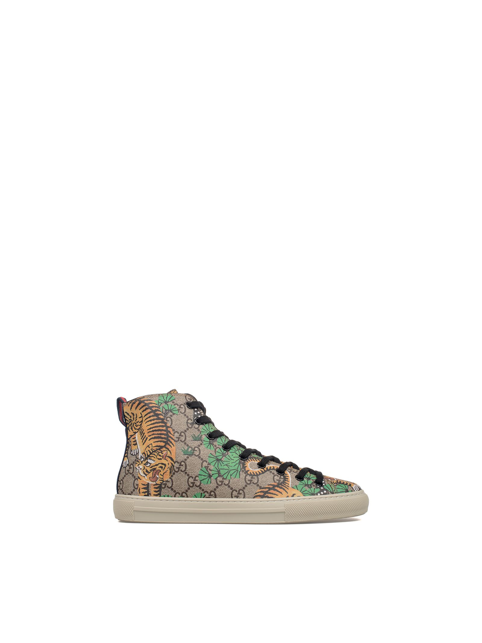 gucci male sandbrown gucci bengal gg supreme hightop sneakers