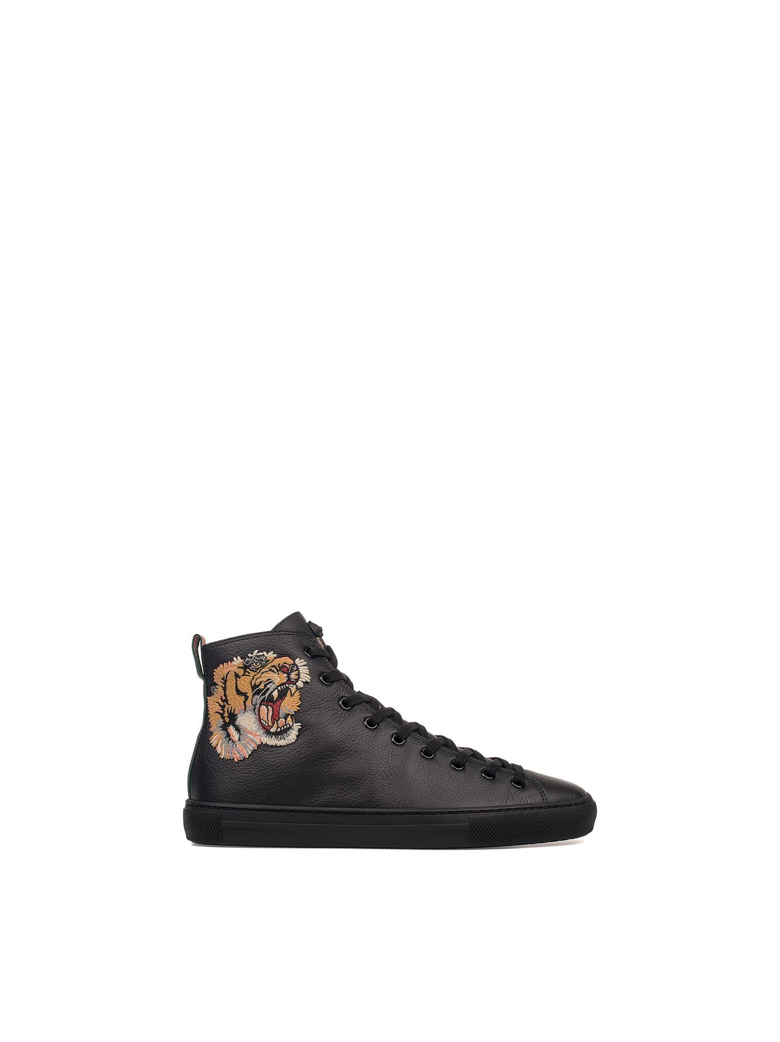 gucci male black tiger embroidery leather hightop sneakers