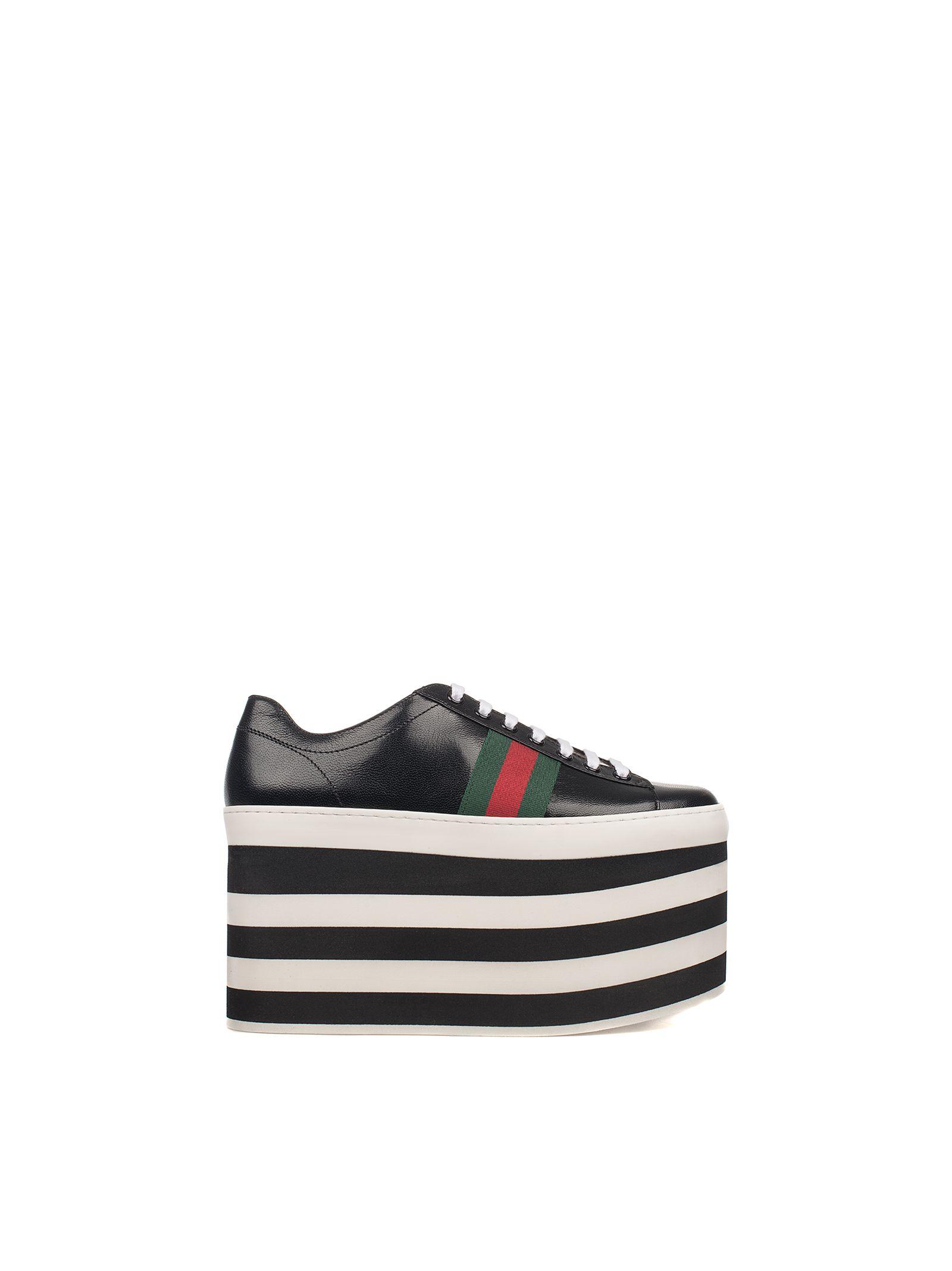 gucci female blackwhite leather wedge sneakers