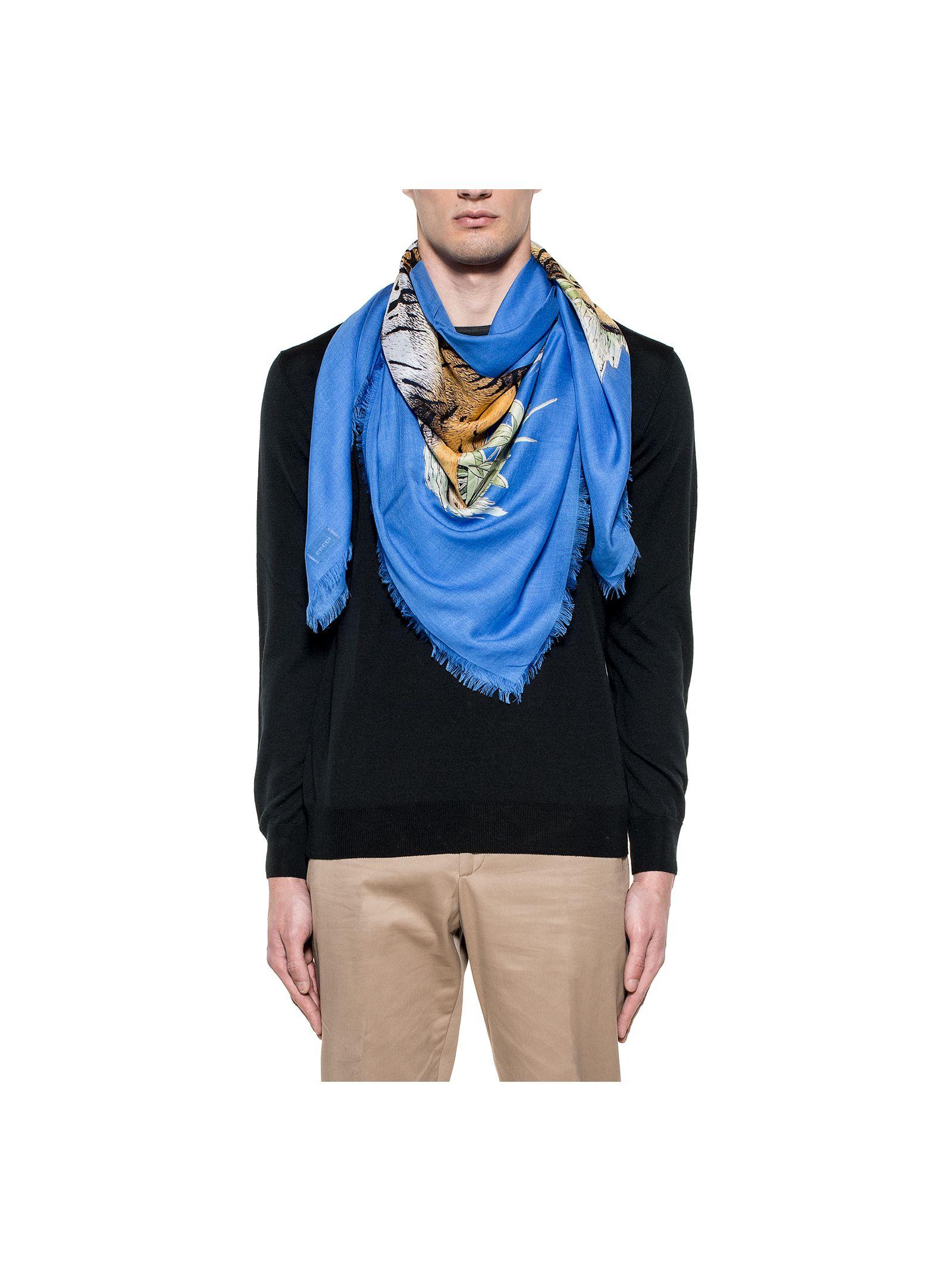 gucci male bluette tiger box scarf
