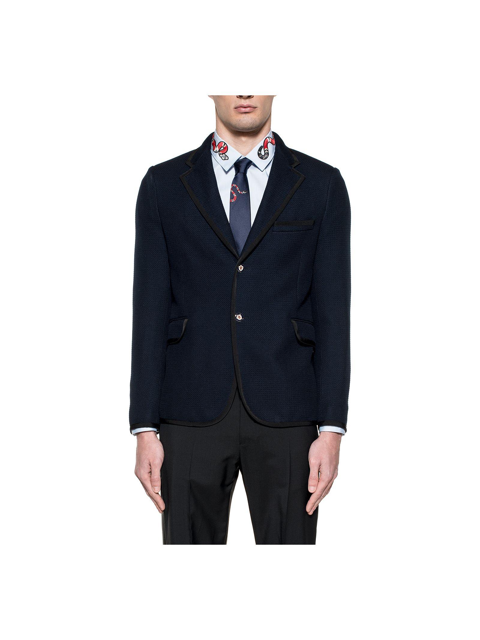 gucci male night blue jersey blazer