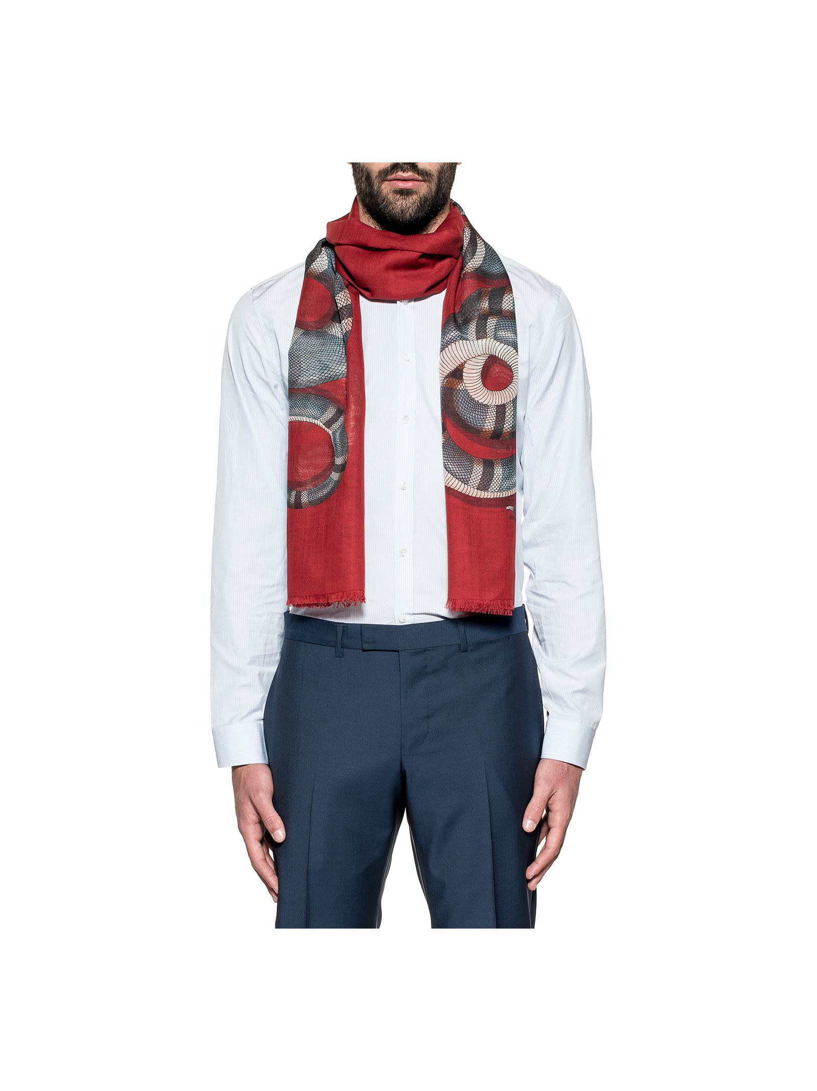 gucci male red snake box wool scarf