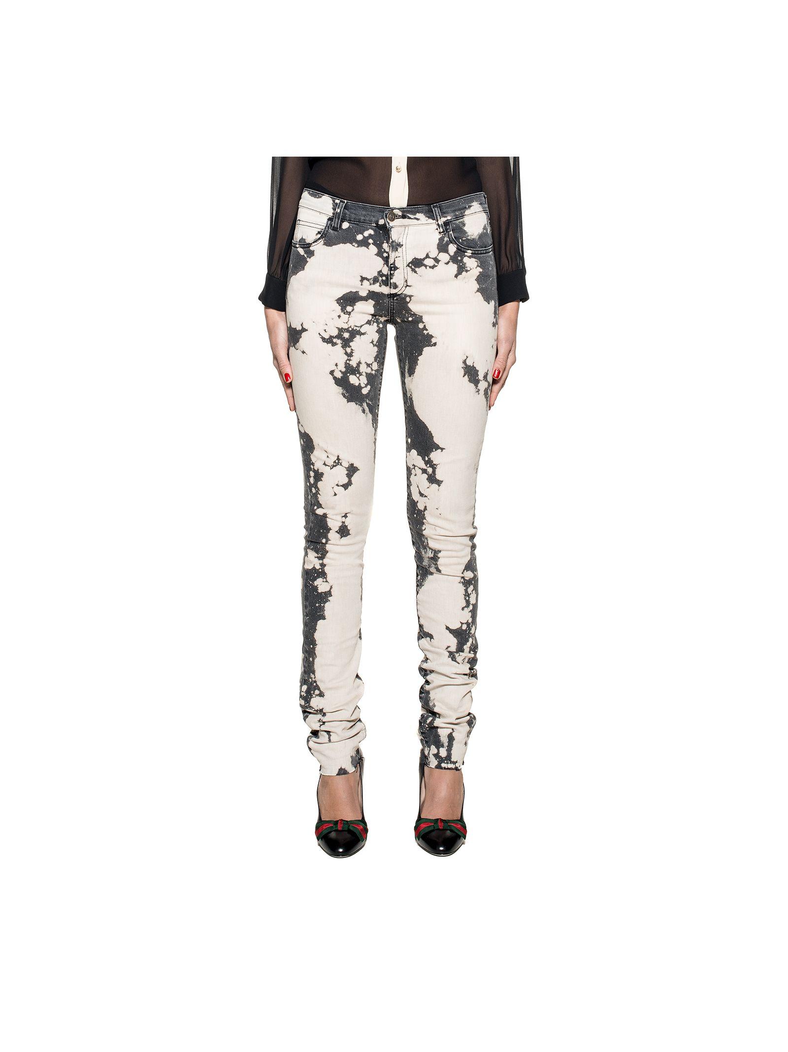 gucci female gray embroidery denim jeans