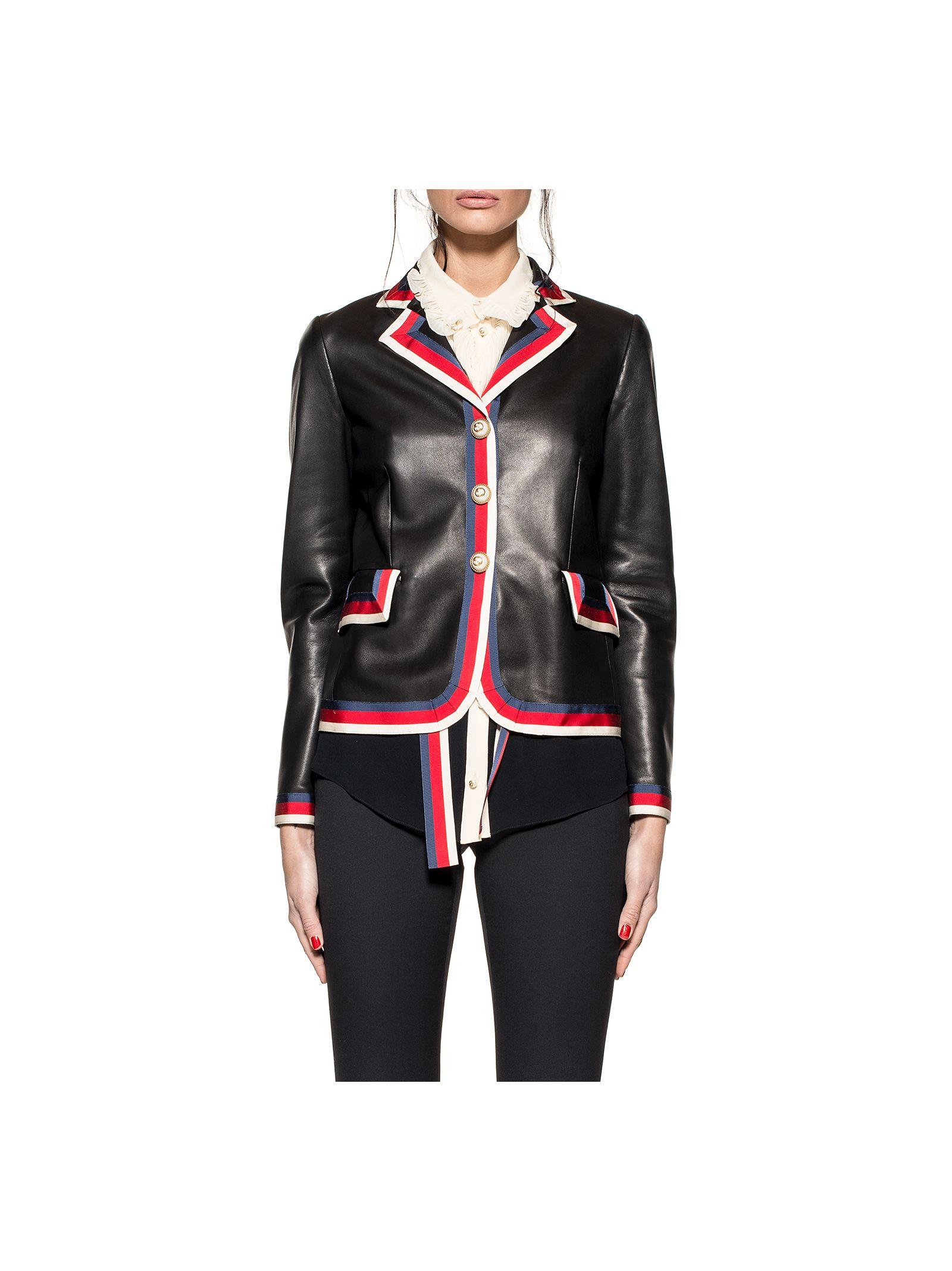 gucci female black sylvie web leather jacket