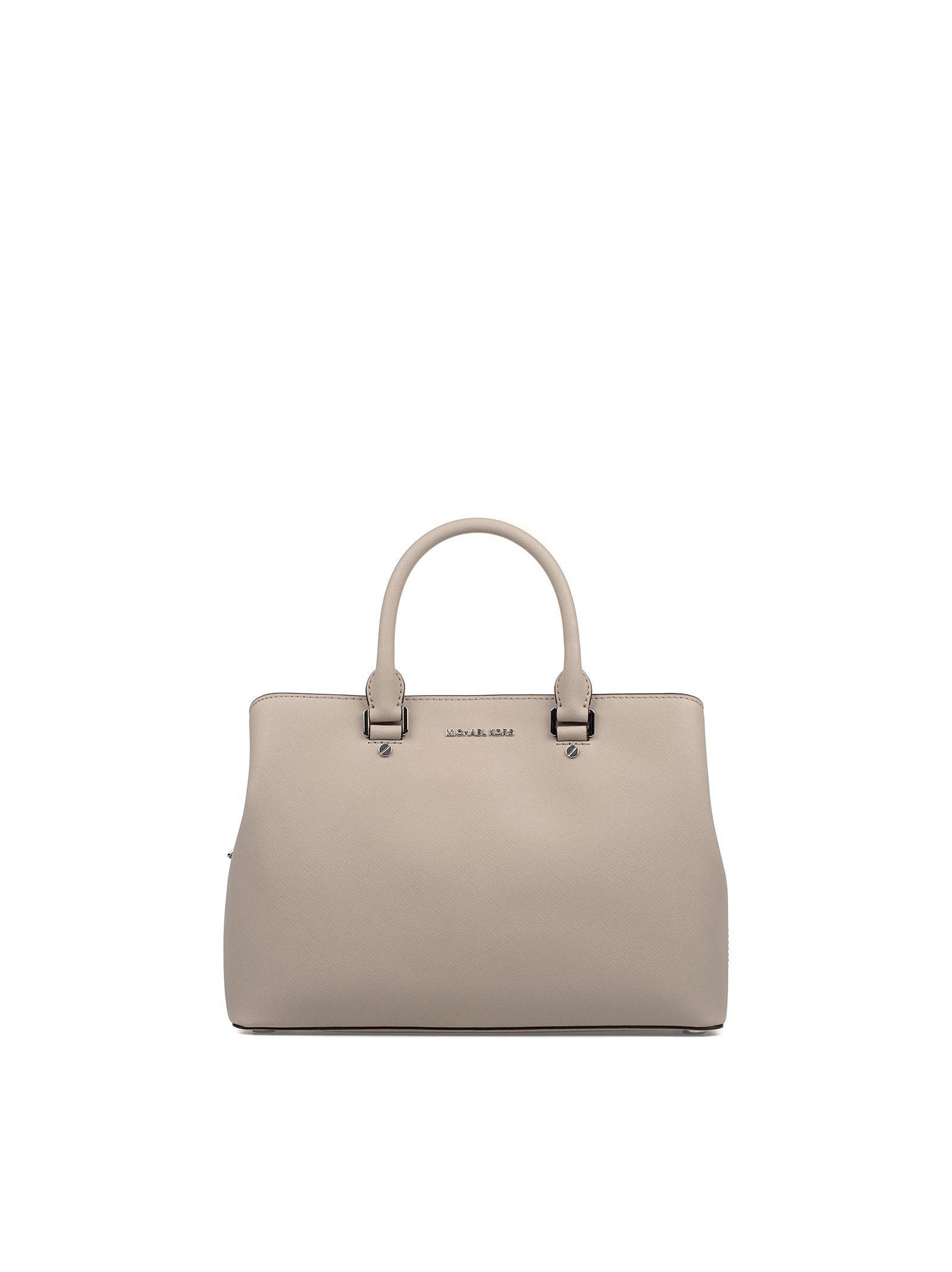 michael kors female cement savannah satchel saffiano leather large top handle bag