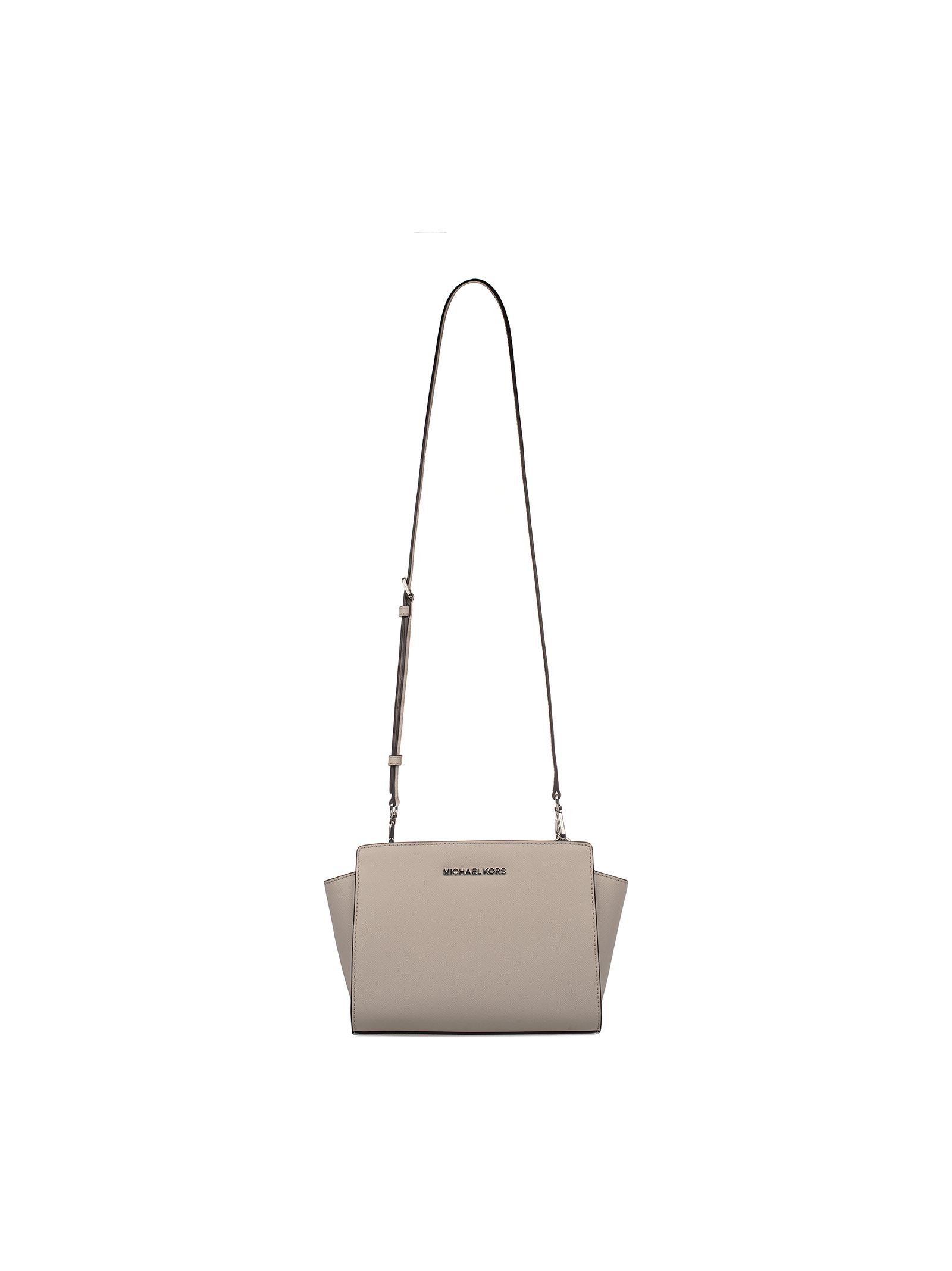 michael kors female cement selma saffiano leather large shoulder bag
