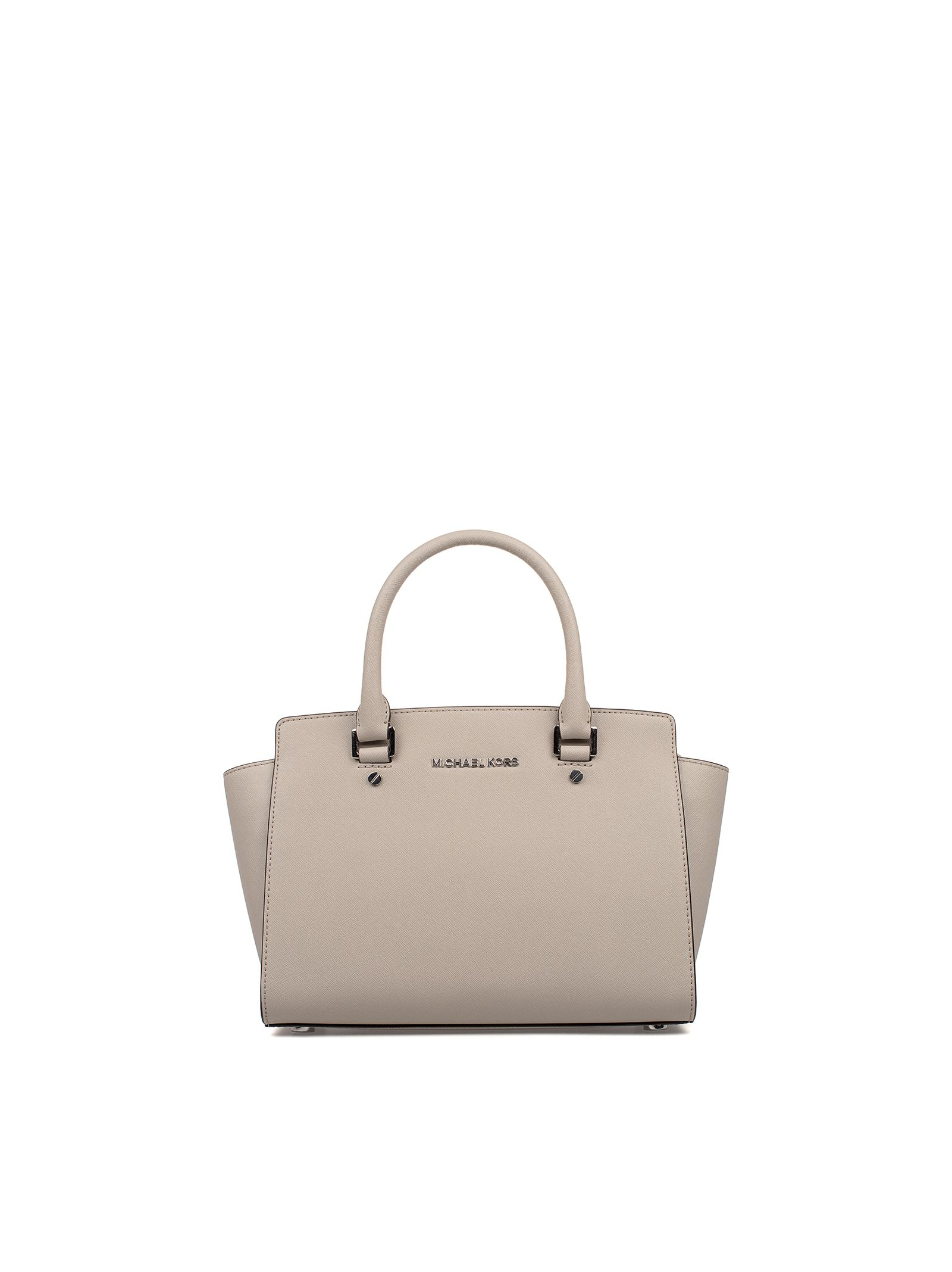 michael kors female cement medium selma seatchel saffiano leather top handle bag
