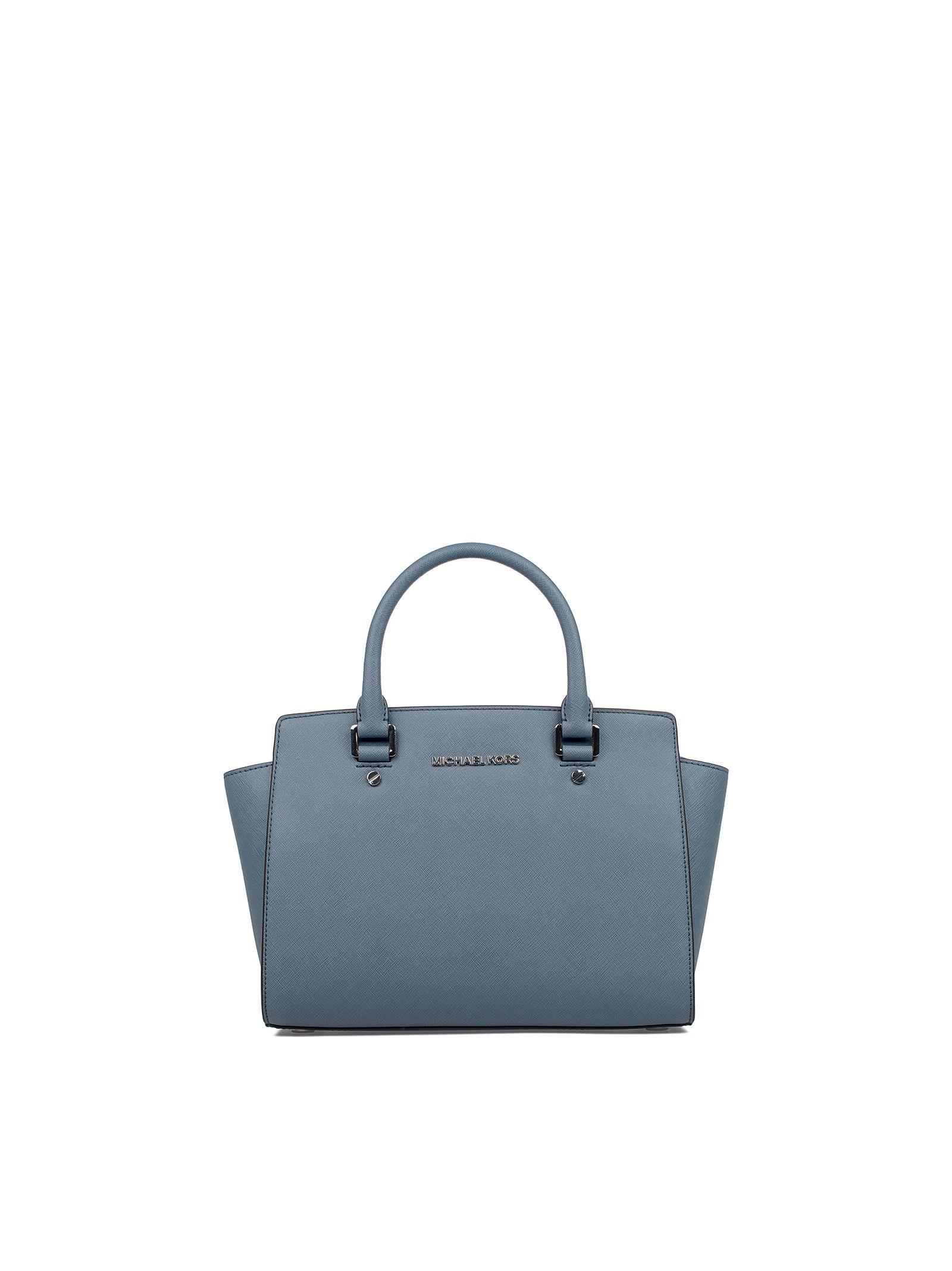 michael kors female denim medium selma seatchel saffiano leather top handle bag