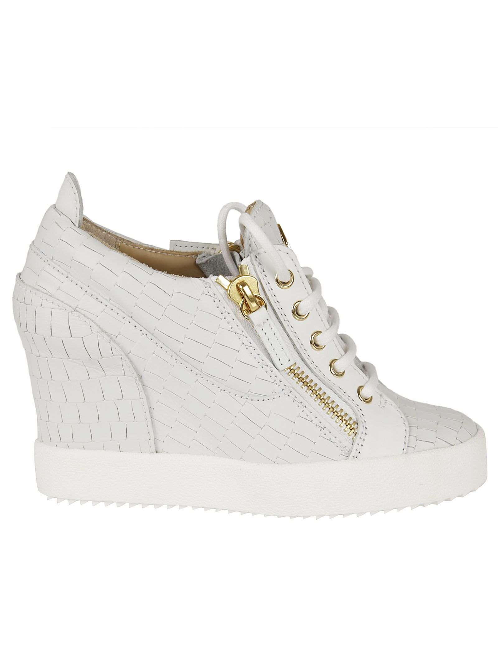 giuseppe zanotti female giuseppe zanotti crocodile effect hitop wedge sneakers