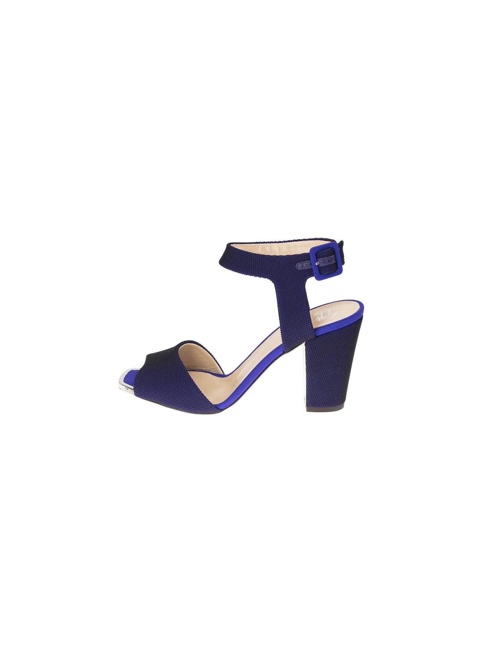 giuseppe zanotti female bluette and black leather sandals lavinia
