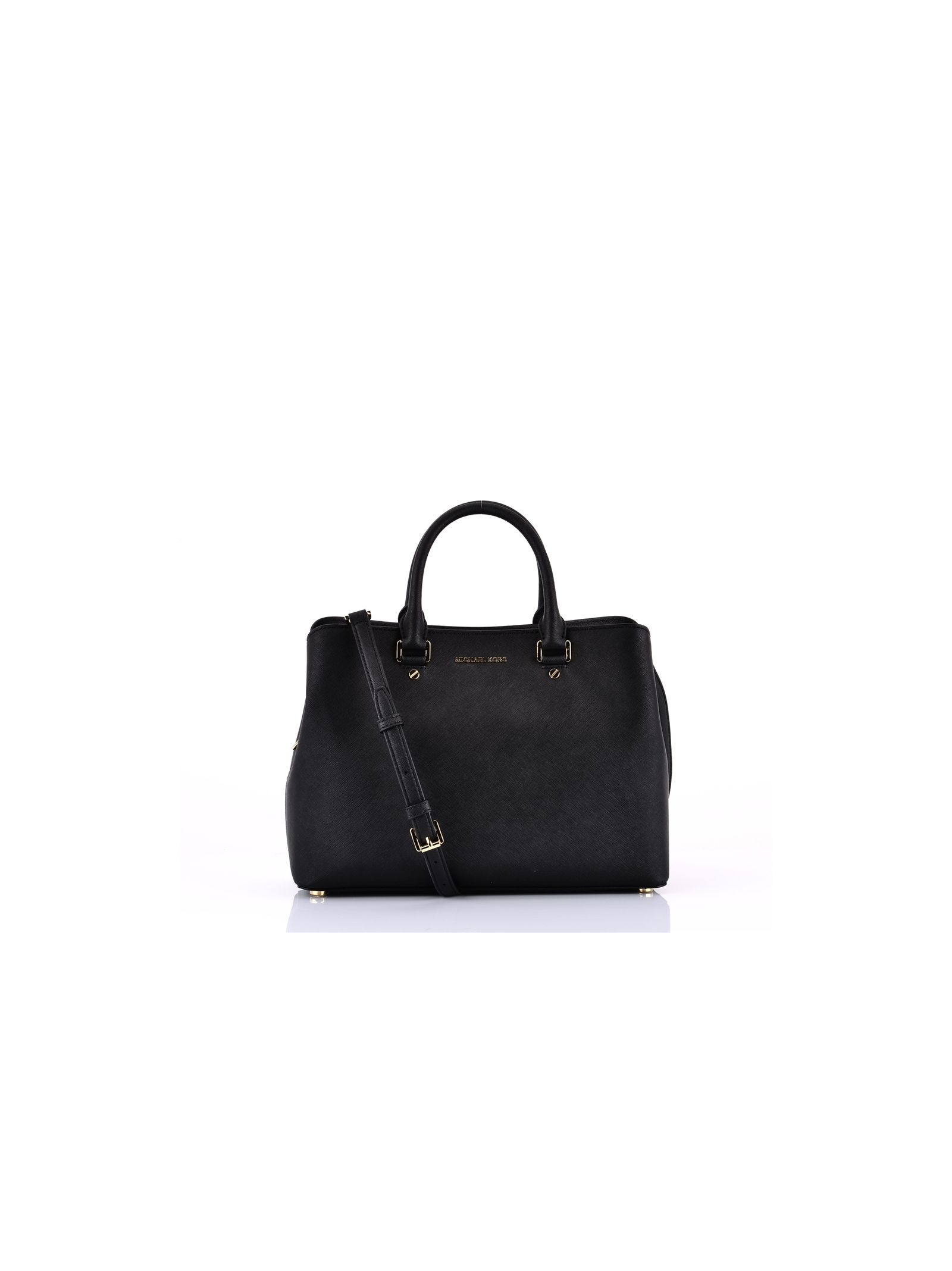 michael kors female black gold savannah large satchel