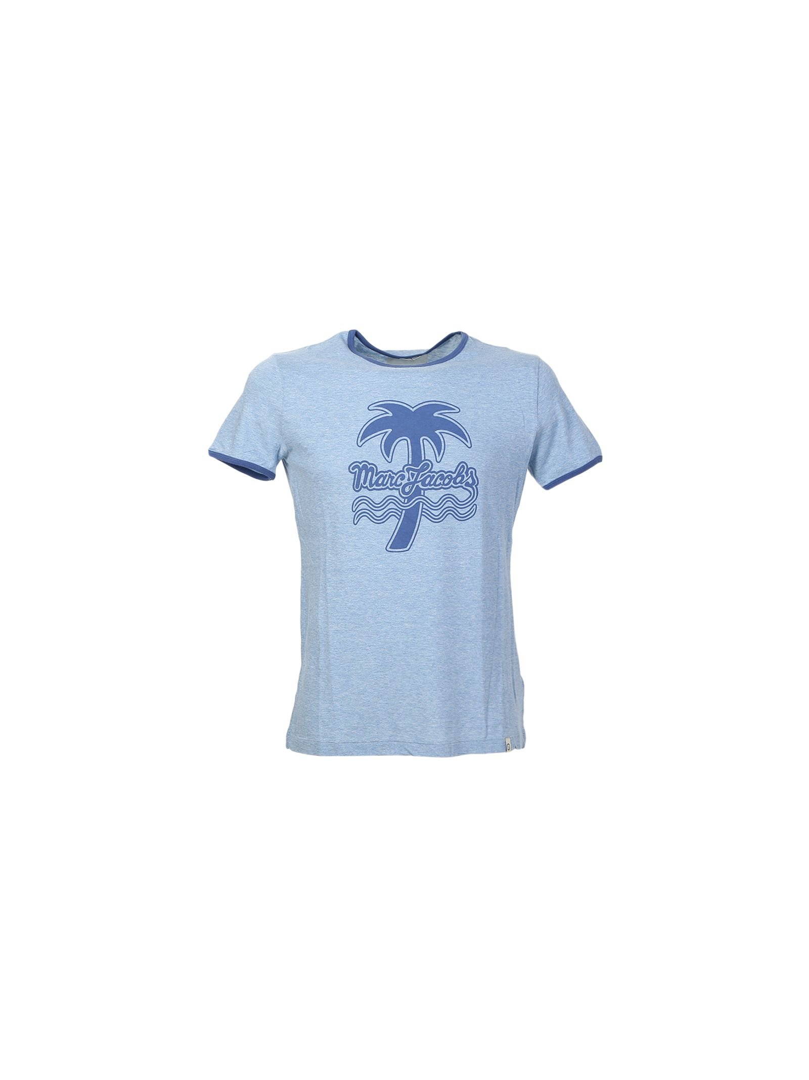marc jacobs male printed blue melange cotton tshirt