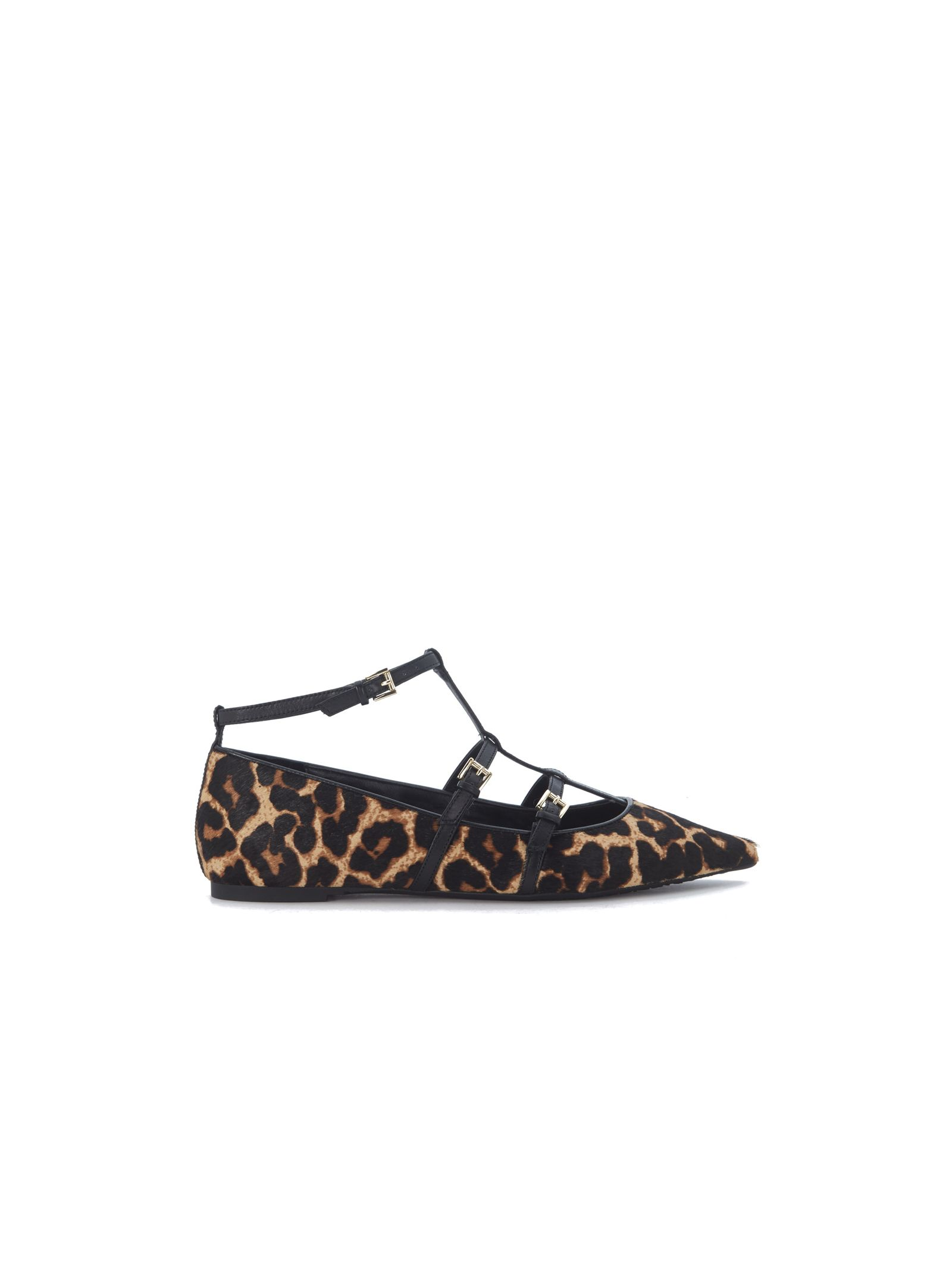 michael kors female michael kors marta flat shoes in spotted cow hair with buckles