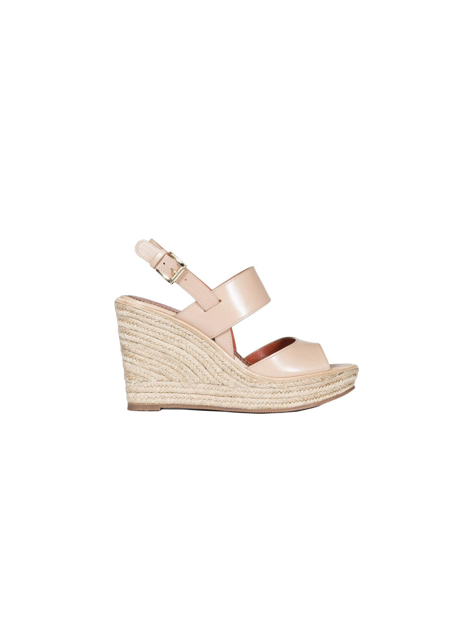 santoni female leather wedge sandals