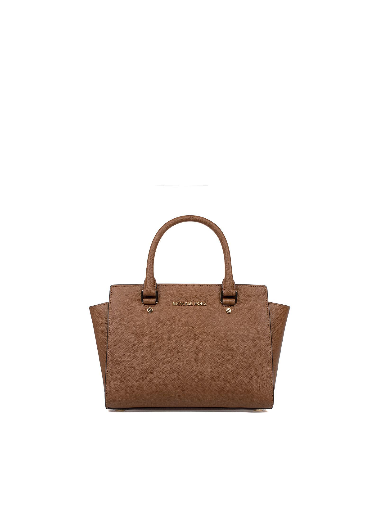michael kors female luggage medium selma seatchel saffiano leather top handle bag