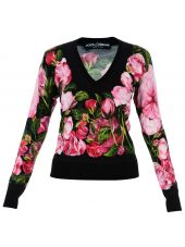 Black Roses Print V-neck Jumper