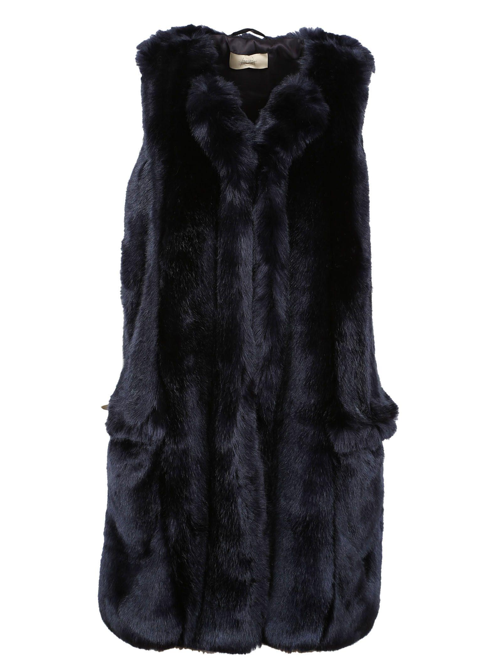 Dark Blue Faux Fur Vest - Maison Flaneur - Circus