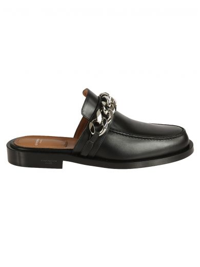 GIVENCHY Chain Croc-Embossed Leather Loafer Slides at Italist.com