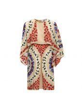 Msgm Floral Print Cape Dress