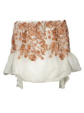 Black Coral Embroidered Off-shoulder Blouse