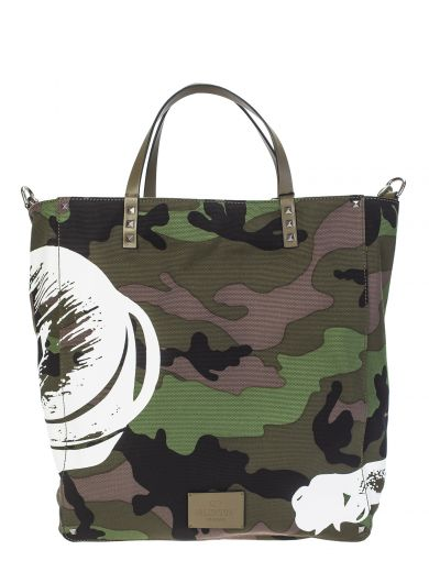 VALENTINO Panther Print Camo Canvas Tote Bag, Camouflage