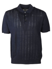 Corneliani Embroidered Stripe Polo Shirt