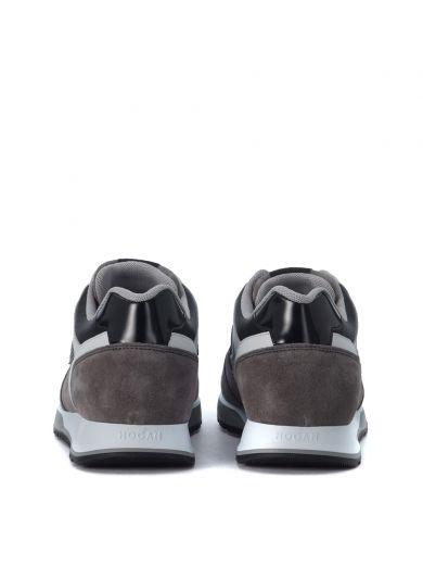 HOGAN Sneaker Hogan H321 In Pelle Grigio, Bianco E Piombo