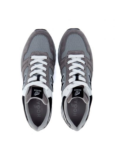 HOGAN Sneaker  H321 Grey And White Leather Sneaker in Grigio