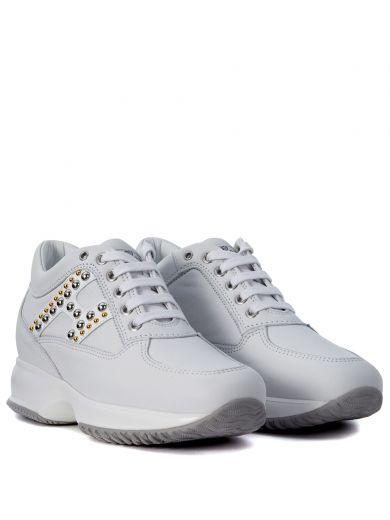 HOGAN Sneaker Hogan Interactive In Pelle Bianca Con Borchie