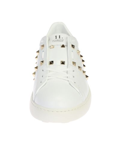 VALENTINO Untidled Rockstud White Leather Sneakers